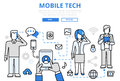 Mobile tech communication concept flat line art vector icons Royalty Free Stock Photo