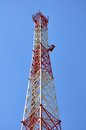 Mobile tower antenna on sky background Stock Images