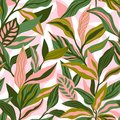 Tropical leaves hand drawn seamless pattern. Botanical trendy design in pink and green colors. Vector repeating design for fabric,