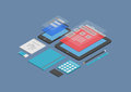 Mobile web design and development illustration flat isometric vector concept of user interface on modern devices isolated Royalty Free Stock Photo