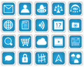 Mobile web services icon set eps vector icons in blue style Royalty Free Stock Image