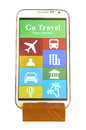 Mobile on wooden holder with travel app interface Stock Images