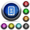 Mobile working round glossy buttons Royalty Free Stock Photo