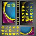 Mobilephone theme illustration of mobile phone with colorful background and application button Stock Photo