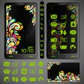 Mobilephone theme illustration of mobile phone with colorful background and application button Royalty Free Stock Image