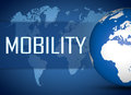 Mobility concept with globe on blue background Royalty Free Stock Photography