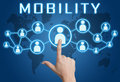 Mobility concept with hand pressing social icons on blue world map background Stock Photography