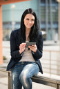 Mobility woman with tablet young beautifull outdoor lifestyle portrait Royalty Free Stock Images