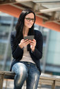 Mobility woman with tablet young beautifull outdoor lifestyle portrait Royalty Free Stock Photography