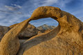 Mobius arch mount whitney framed by in the alabama hills near lone pine california Stock Image
