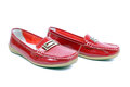 Mocassins closeup bright red glossy Royalty Free Stock Image