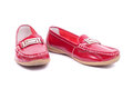 Mocassins closeup bright red glossy Royalty Free Stock Photo