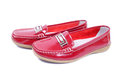 Mocassins closeup bright red glossy Stock Photography