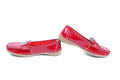 Mocassins closeup bright red glossy Stock Photo