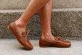Moccasins shoes fashion leather and brown Stock Photo
