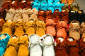Moccasins variety of hand made colorful Royalty Free Stock Photo