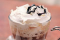 Mocha coffee closeup of a with whipped cream and chocolate topping Stock Photo