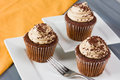 Mocha cupcakes three chocolate with sprinkles and frosting Stock Photos