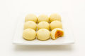 Mochi thai style stacked in plate isolated on white background Royalty Free Stock Photography