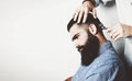 Mock up of bearded man in a barber shop Royalty Free Stock Photo