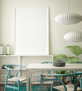 Mock up blank poster on the wall of vintage living room, Royalty Free Stock Photo