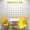 Mock up conference room, calendar on white brick wall