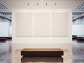 Mock up of empty gallery interior with brown bench Royalty Free Stock Photo