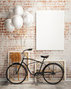 Mock up poster with bicycle and balloons in loft interior template design d render Royalty Free Stock Photos