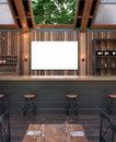 Mock up poster frame in cafe interior background, Modern outdoor bar restaurant