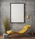 Mock up poster frame in hipster interior background, Royalty Free Stock Photo