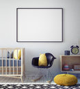Mock up poster frame in hipster room, scandinavian style interior background,