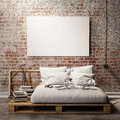 Mock up poster with vintage hipster loft interior background, 3D render Royalty Free Stock Photo