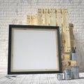 Mock up posters frames in art atelier, 3D render