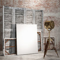 Mock up posters in loft interior with industry lamp, background