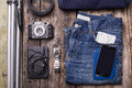 Mock up of summer travelling stuff on wooden board Royalty Free Stock Photo