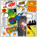 Mock-up of a typical comic book page. Vector Comics Pop art Superhero concept blank layout template with clouds beams