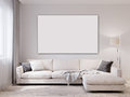 Mock up white wall modern living room interior