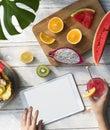 Mockup Copyspace Summer Fruits Digital Tablet Concept Royalty Free Stock Photo