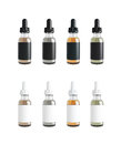Mockup of vape bottles with liquid on white background template d rendering Royalty Free Stock Photo