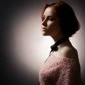 Mode-Dame On Dark Background Stockbilder