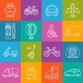 Mode of transport lineart minimal vector iconset on multicolor checkered texture Royalty Free Stock Photo