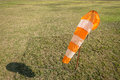 Model aircraft wind sock runway field with small to scale Stock Photo