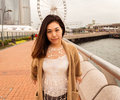 Model asian girl in hong kong island Royalty Free Stock Image