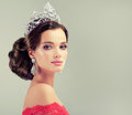 Model  in a delicate make up,  dressed in a red gown and crown. Royalty Free Stock Photo