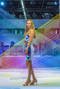 Model at an exhibition stand at the photokina cologne september models pose for visitors in cologne germany they pose for free Royalty Free Stock Photos