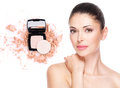 Model face of beautiful woman with foundation on skin make up cosmetics Royalty Free Stock Image