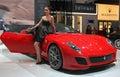 Model and Ferrari 599 GTO Royalty Free Stock Photo