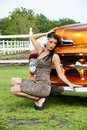 Model in front of the classic truck Royalty Free Stock Photo
