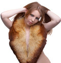 Model in fur scarf Royalty Free Stock Images