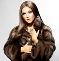 Model girl in mink fur coat beauty fashion Stock Photo